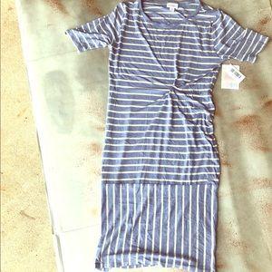 LuLaRoe NWT Julia Periwinkle Cream Striped Dress
